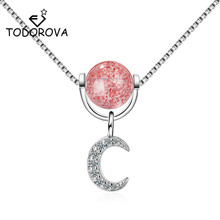 Todorova Korean Style Temperament Women Accessories Strawberry Crystal Zircon Moon Pendant Koyle Link Chain Chokers Necklaces