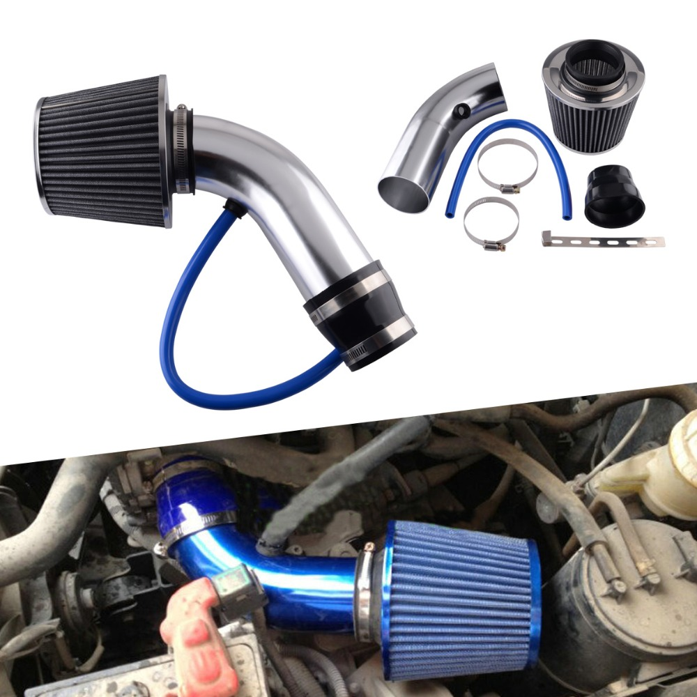 3 inch Air Intake Kit Blue Pipe with Cold Air Intake Filter /& Clamp /&Accessories
