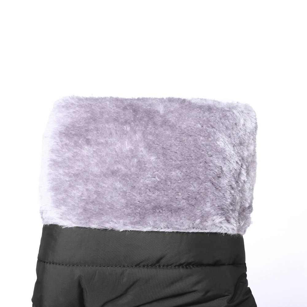 2019 büyük boy kama taklidi diz üzerinde çizmeler sıcak tutmak kış pamuklu ayakkabılar metal platformu parti kadın uyluk yüksek çizmeler l03