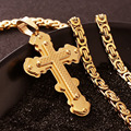 Jesus Cross Pendant Necklace Stainless Steel Men Jewelry Byzantine Link Chain Choker Poplular Colar Sliver Gold Plated MN0056