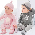 Baby Boys and Girls Clothing Set Long sleeve top + pants + hats Winter Clothes set