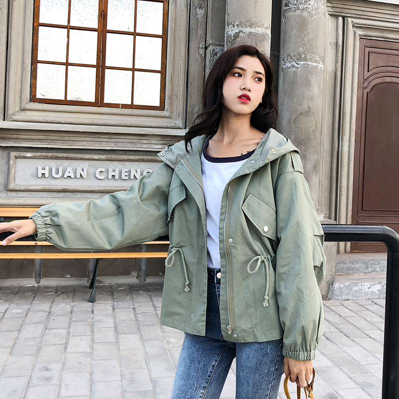 FTLZZ New Loose Trench Coat Spring Autumn Women's Hooded Black Green Windbreaker Outerwear Female Casual Trench Coat 9