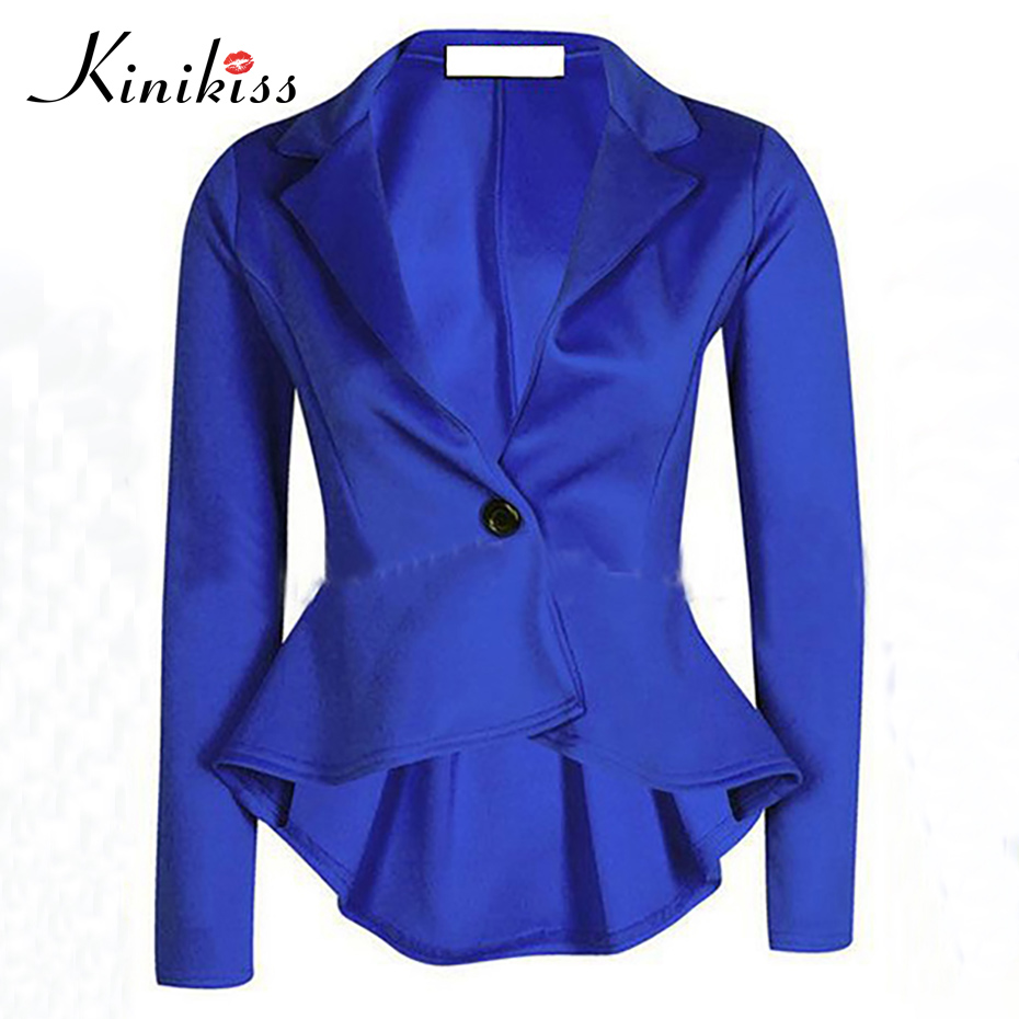 Kinikiss Women Office Blazers Blue Elegant Long Sleeve Collar Jacket Ladies Fashion OL Work Plain Skirts Lapel Casual Blazers