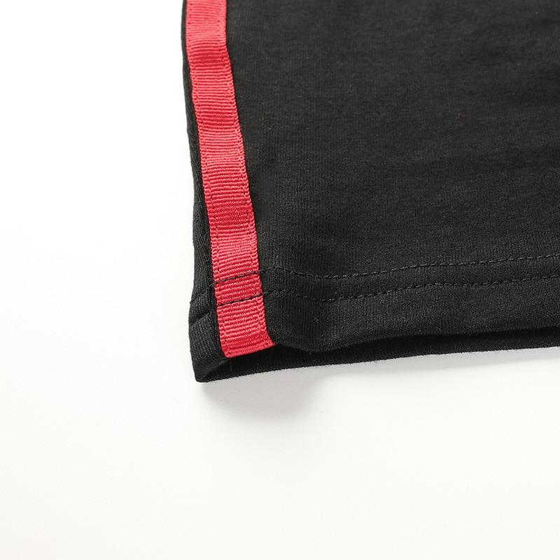 Focal20 Side Streetwear Sexy Slim Tube Crop Tops Women Side Stripe Black Chinese Style Dragon Print Summer Strapless Wrap Top