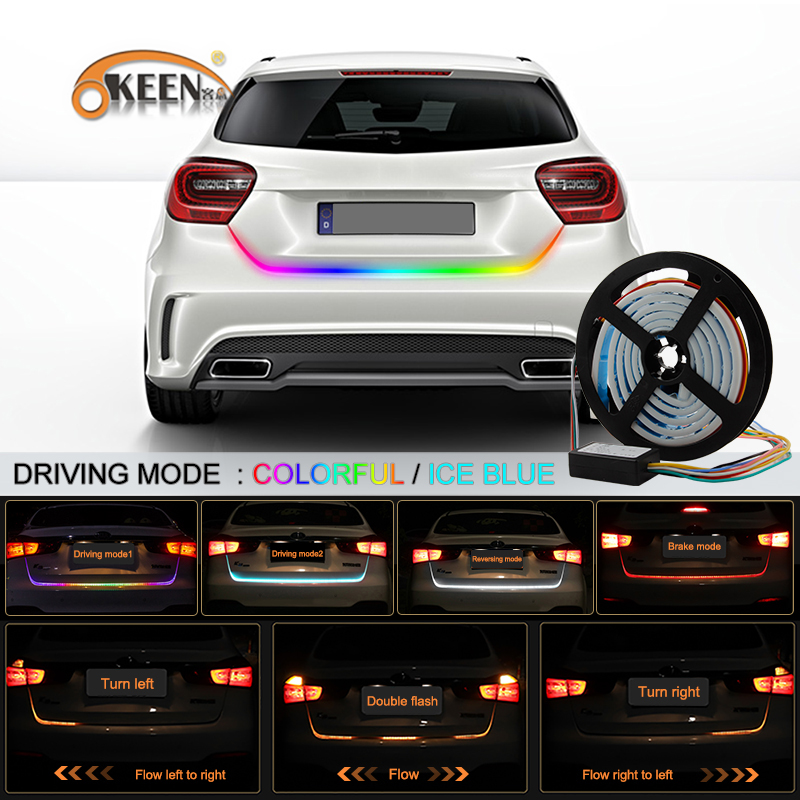 OKEEN Car Styling 5050 RGB Tail Trunk Strip Light Brake Driving Flow Signal Reverse Knight Kit 47 Luggage Compartment Lights