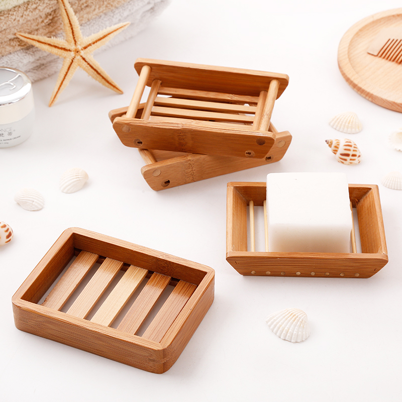 2019 New Soap Box Japanese Wooden Soap Dish Tray Holder Storage Rack Home Bathroom Handmade Natural Bamboo Drain Soap Box JJC03