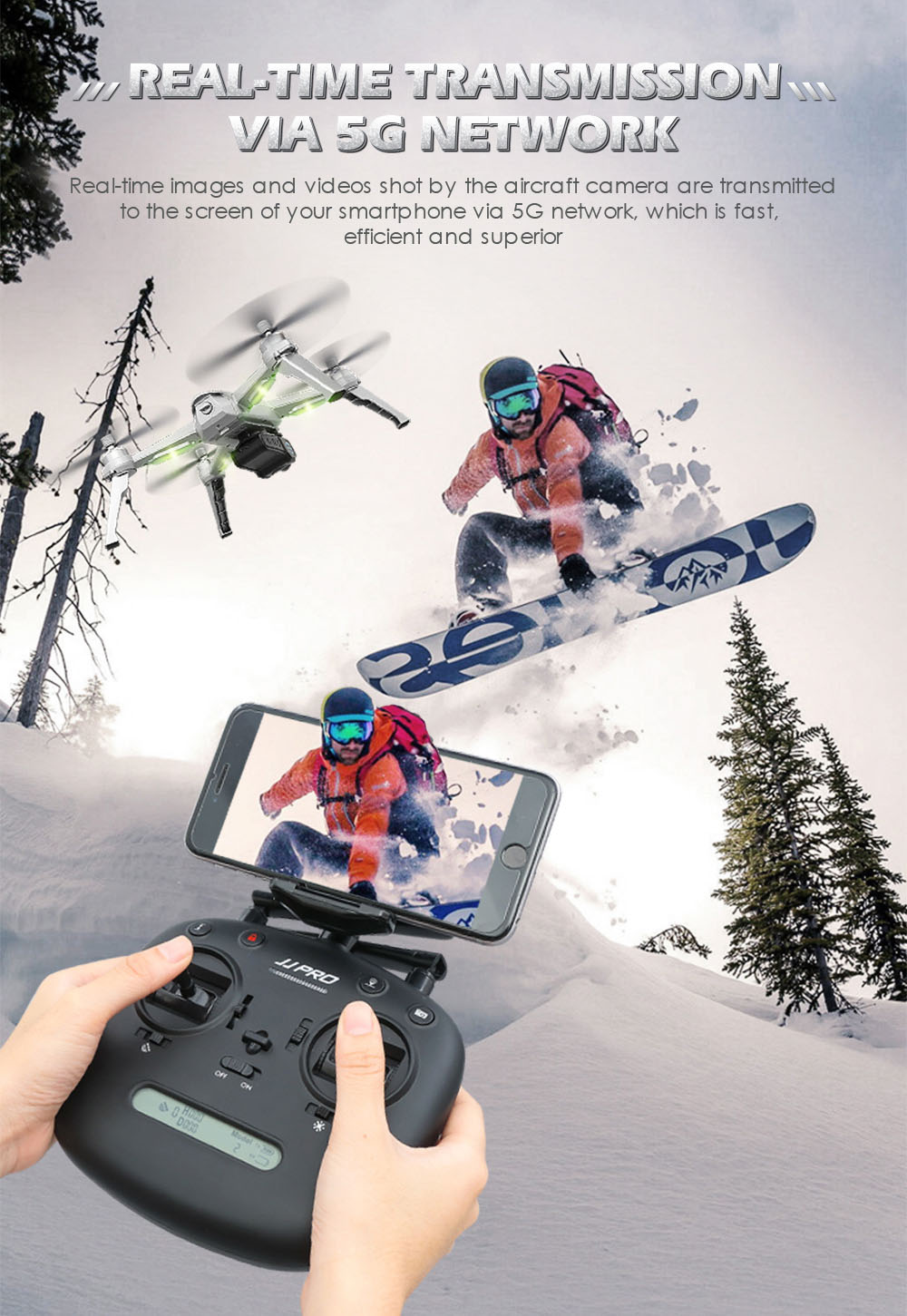JJRC JJPRO X5 RC Drone 5G WiFi FPV Drones GPS Positioning Altitude Hold 1080P Camera Point of Interesting Follow Brushless Motor 14