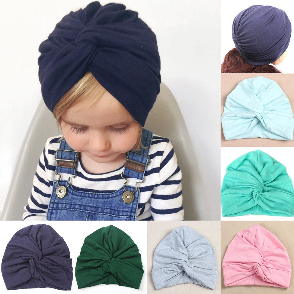 e5d0c57f Puseky Infant Baby Girls Boho Cotton Twist Turban Hat Solid Head Wrap  Indian Style Cap Spring
