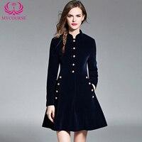 Autumn Vintage Elegant Black Velvet Dresses Winter Dresses Thickening Thermal Basic Dress Long Sleeve Casual Dresses