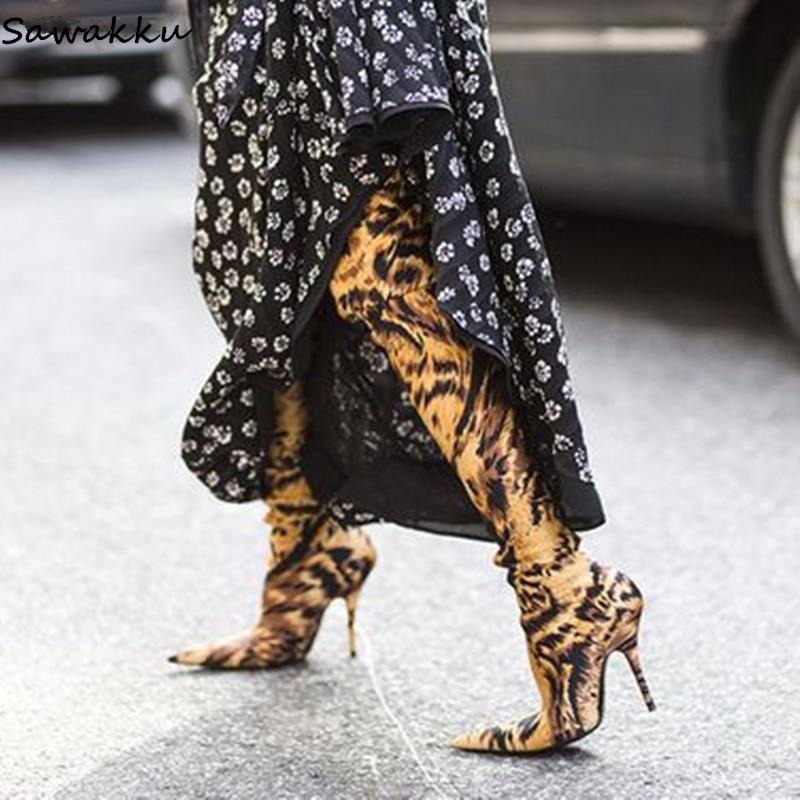 Модные Стрейчевые высокие сапоги до бедра с леопардовым принтом, женские пикантные туфли на шпильке, обувь для подиума, узкие сапоги выше ко...