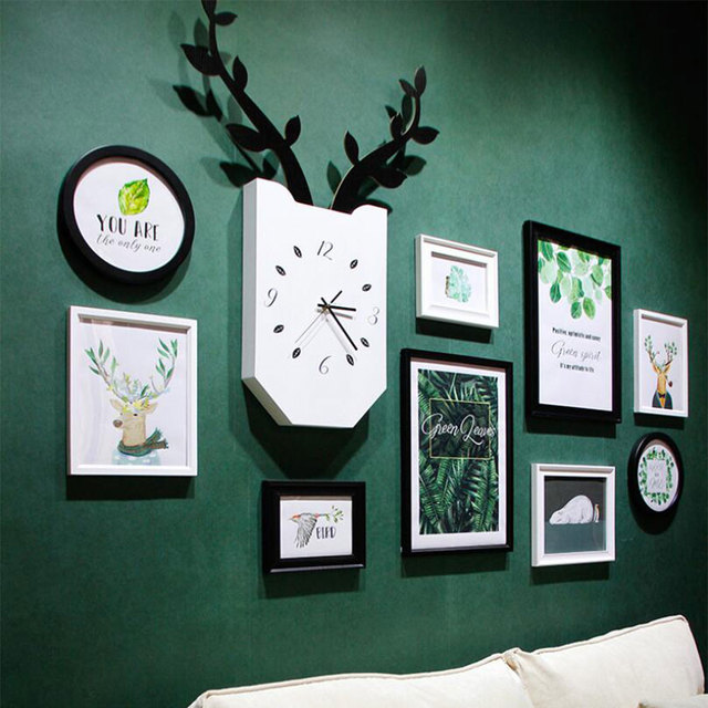 Europe Style 10 pcs/set Black White Vintage Photo Frame Wall,Family Picture clock Frame Sets,Round Picture Frames For Paintings