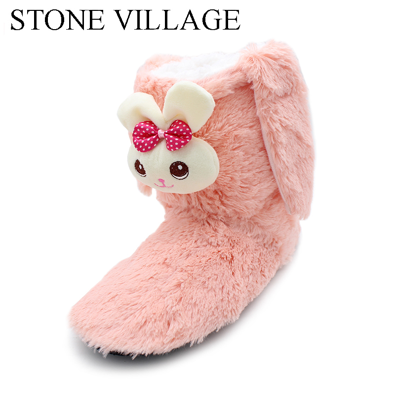 STONE VILLAGE New Arrival Household Slippers Warm Cute Plush Toys With Slippers Winter Comfortable Indoor Wool slippers Woman millffy plush slippers squinting little sheep indoor household slippers lambs wool home couple slippers