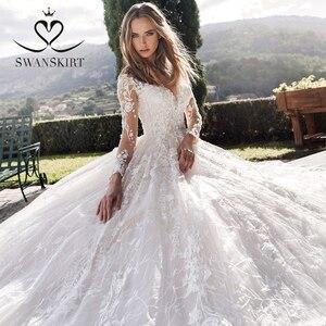 Image 5 - Long sleeves Ball Gown Wedding Dress Swanskirt K185 Sweetheart Appliques Lace Chapel Train Princess Bride Gown Vestido de Noiva