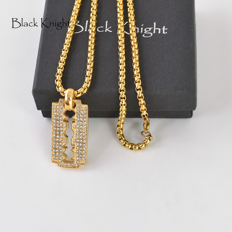 Black Knight Bling Bling individualized Knife Blade pendant necklace Gold color Full CZ stones Knife Blade necklace men BLKN0423 in Pendant Necklaces from Jewelry Accessories