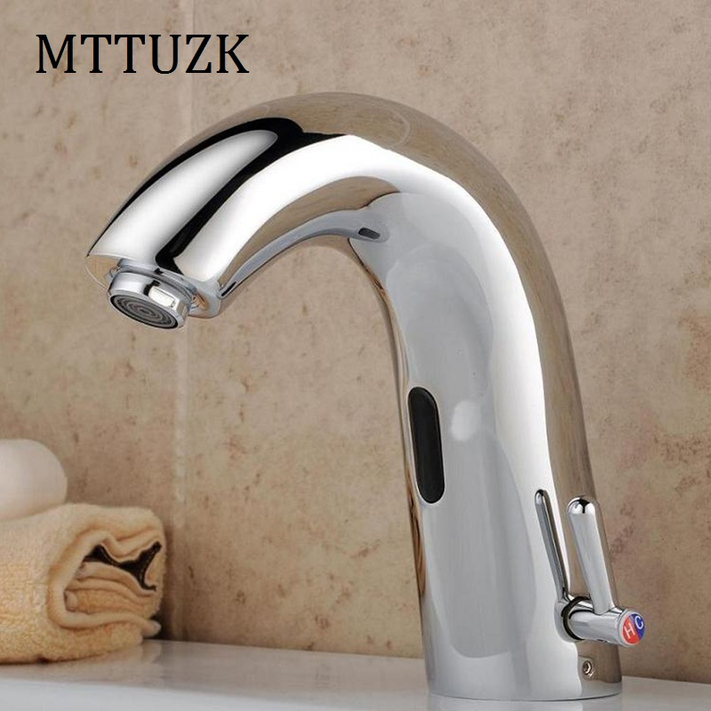 MTTUZK Brass Deck Mounted Bathroom Sink Automatic Hot&Cold Sensor Mixer Touch Free Sensor Faucet Automatic Hands Free Sensor Tap