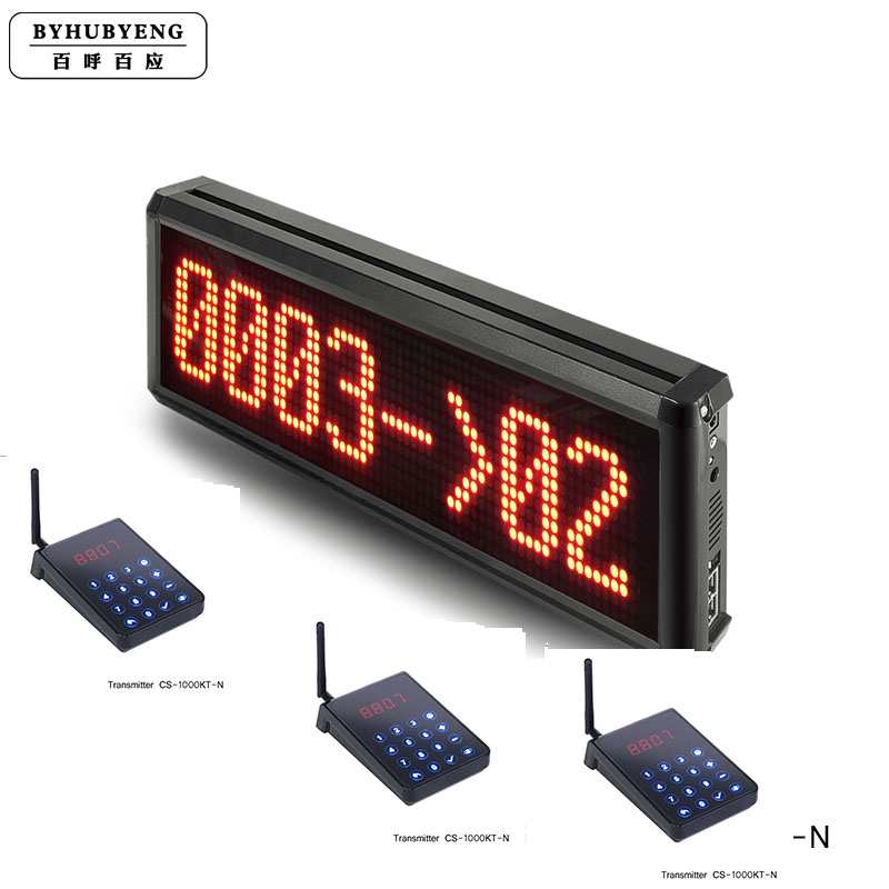 BYHUBYENG Simple Queue Management System Queue Calling System 1 Display+3 Transmitter Support 99 Channel Queuing MachineBYHUBYENG Simple Queue Management System Queue Calling System 1 Display+3 Transmitter Support 99 Channel Queuing Machine