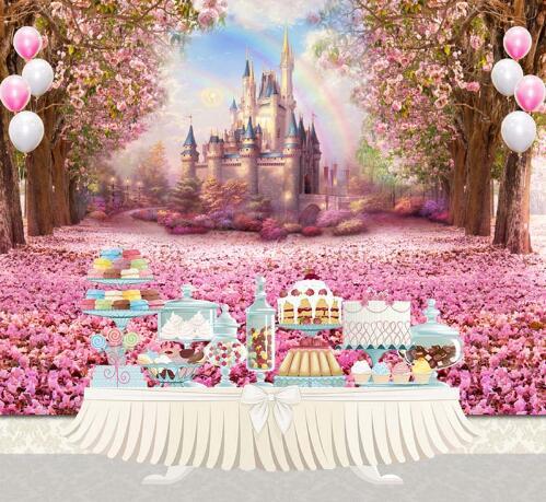 7x5ft Fairy Tale Vinyl Photography Background Flower castle newborn children birthday party Backdrops for Photo Studio S-2711 vinyl photography background fairy tale