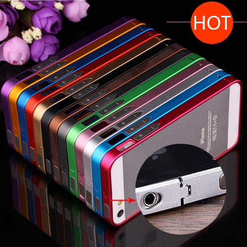 For iPhone4 4S Luxury No Screw 0.7mm Ultra Thin Metal Bumper With Button for Apple iPhone 4S 4 4G Aluminum Case Metal Frame