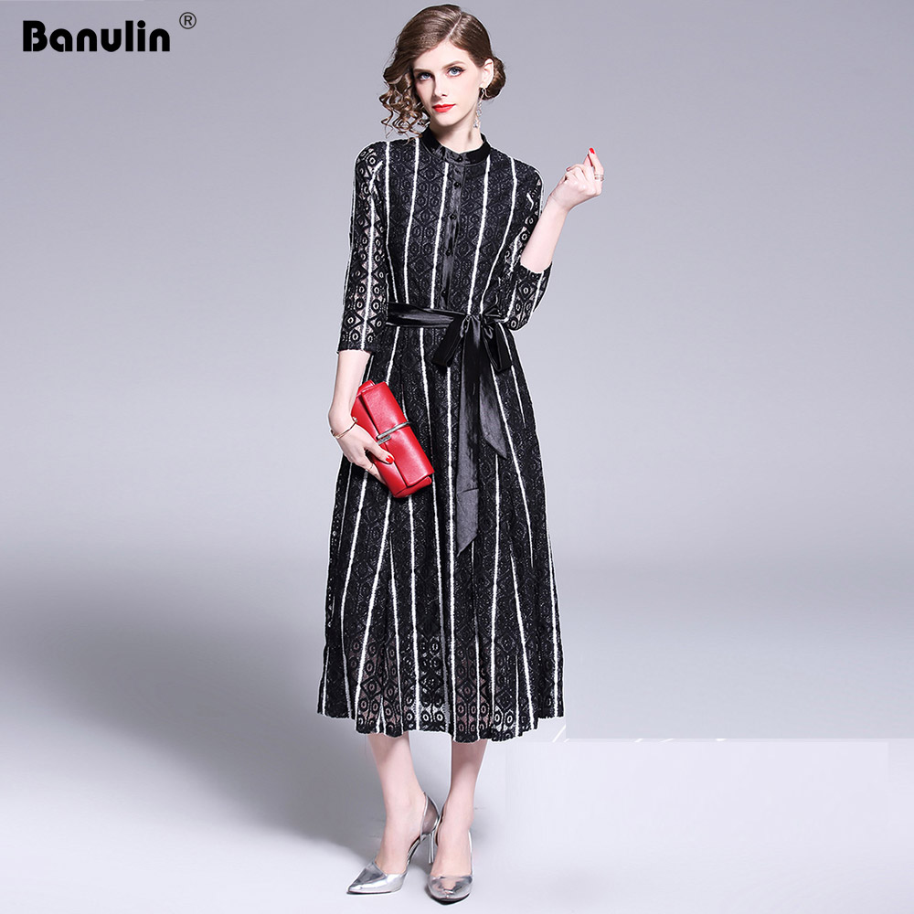 Banulin 2019 New Summer Runway Long Dress Women 39 s 3 4 Sleeve Solid Floral Hollow out Embroidered Mid Calf Elegant Dress in Dresses from Women 39 s Clothing