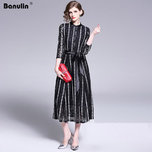 Banulin 2019 New Summer Runway Long Dress Womens 3/4 Sleeve Solid Floral Hollow out Embroidered Mid Calf Elegant