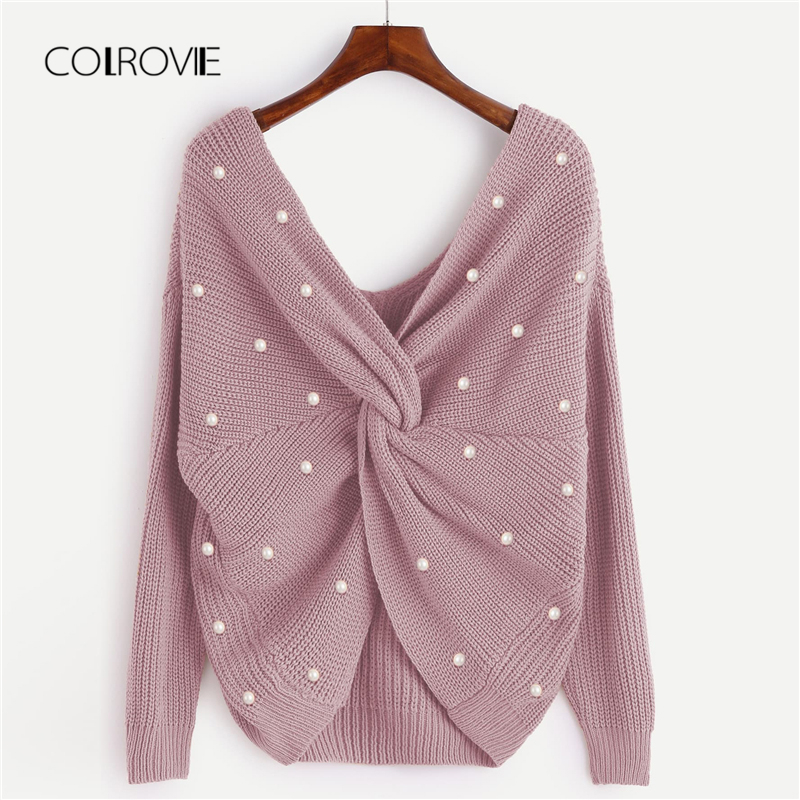 COLROVIE Pink V-Neck Twist Beads Pearls Winter Knitted Sweater Women Clothing 2018 Autumn Infinity Pullover Jumper Lady Sweaters