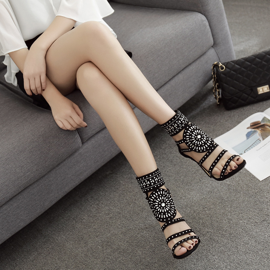 <font><b>Women</b></font> sandals Zipper High <font><b>Heels</b></font> Wedding Lady Shoes Flock Crystal <font><b>Women</b></font> Pumps Thin <font><b>Heels</b></font> Chaussure Femme Talon gladiator sandals image