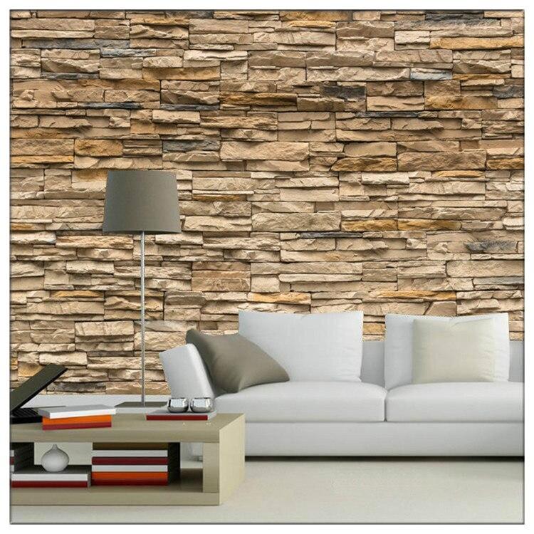 European style living room sofa 3 d brick stone seamless large mural wallpaper TV setting wall paper wall cloth