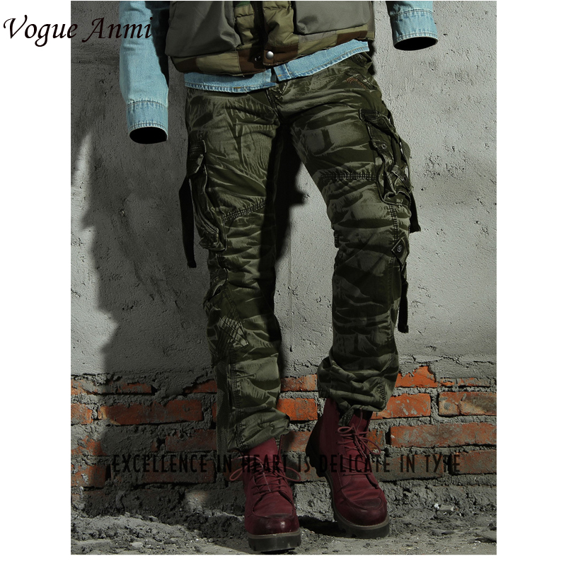 Vogue Anmi Cargo Pants Fashion Men Pants Winter Cotton Camouflage Military Pants Men Straight Casual Pants