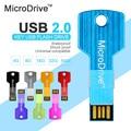 De Metal em forma de chave usb flash drive usb 2.0 16 gb 32 gb caneta conduzir 4 gb 8 gb usb flash de 64 gb de memória stick usb vara pendrive