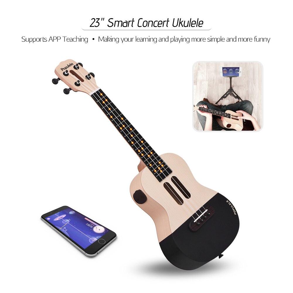 23 Smart Konzert Ukulele Ukulele Uke Kit mit LED licht für Anfänger mit Tragen Tasche Saiten Capo Picks USB ladekabel - 2