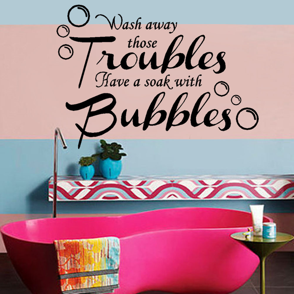 compare prices on bathroom wall art online shopping buy low price wash away those troubles waterproof removable vinyl wall art decal bathroom quote stickers china