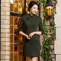 Осень зимние Китайских женщин Cheongsam чи-пао элегантный Китайский платье Мини Вечернее Платье платья Размер: S, M, L XL XXL XXXL 7 цвета