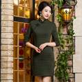 Autumn winter Chinese Women's Cheongsam chi-pao elegant Chinese dress Mini Evening Dress vestidos Size:S M L XL XXL XXXL 7colors