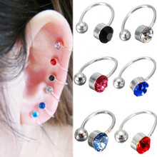 2pcs 2015 Brand New  New Ear Clip Cuff Wrap Earrings Crystal Rhinestone Fake Nose No piercing Clip on Women Men Party Jewelry