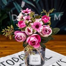 autumn fake tea rose silk flower fall Gerbera Daisy artificial plastic flower for wedding home accessories decoration room decor