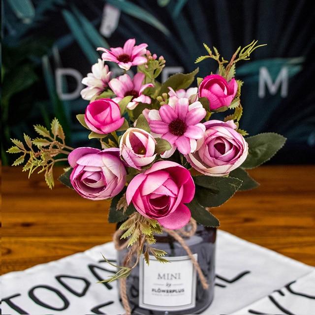 autumn fake tea rose silk flower fall Gerbera Daisy artificial plastic flower for wedding home accessories decoration room decor 4
