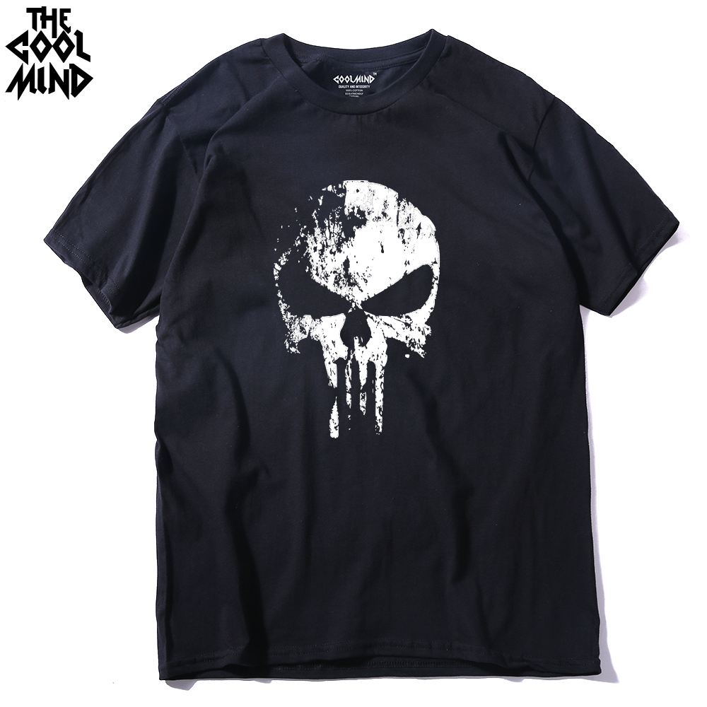 COOLMIND PU0312A 100% Cotton Short Sleeve Punisher Print Men T Shirt Casual Cool Men T-shirt Fashion Summer Tshirt Pthd