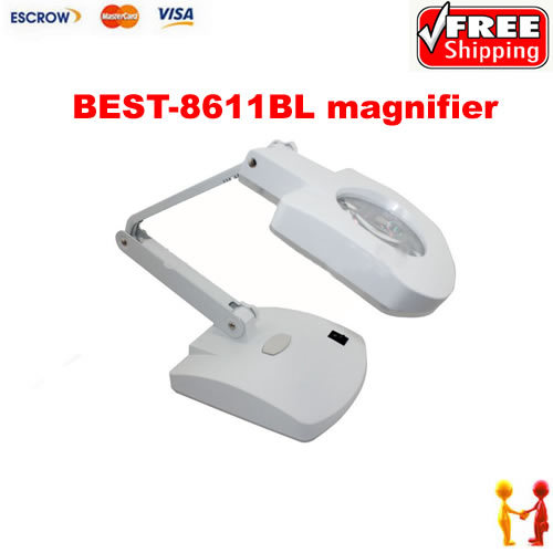 BEST-8611BL Magnifying glass lamp, magnifier repair tool 56 LED light table lamp 5lens led light lamp loop head headband magnifier magnifying glass loupe 1 3 5x y103