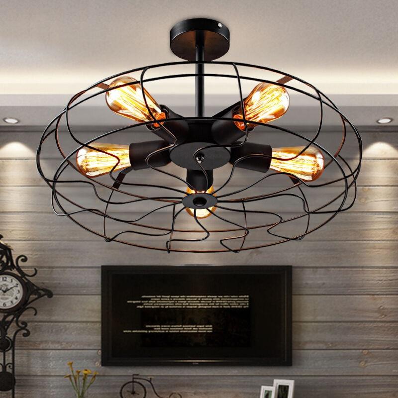 Industrial Lighting Lighting Rustic Light Steampunk: Industrial Rustic Vintage Metal Fan Ceiling Lamp Steampunk