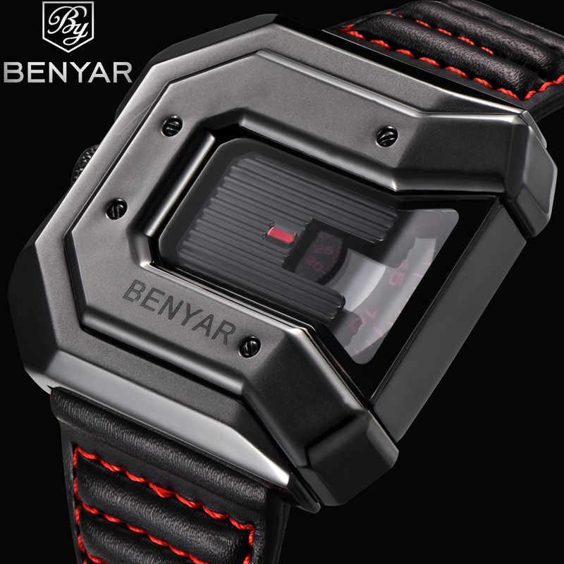 BENYAR marca relojes de hombre de cuero de cuarzo reloj de pulsera deportivo militar de lujo relojes a prueba de agua de moda para hombre
