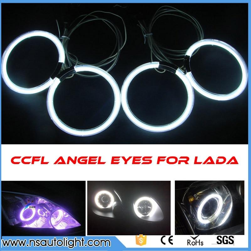 Один комплект полный круг новичек CCFL Ангел глаз гало кольцо комплект 2 x115, которые, 2 х 105ММ для Лада Приора с два инвертора бесплатная доставка