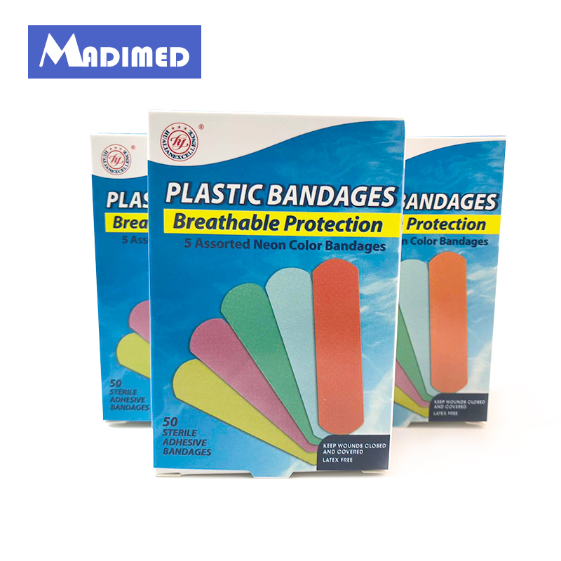 200PCS/4Boxes waterproof colorful breathable plastic adhesive bandages band-aids plasters Band Aid First Aid Kit For Kids