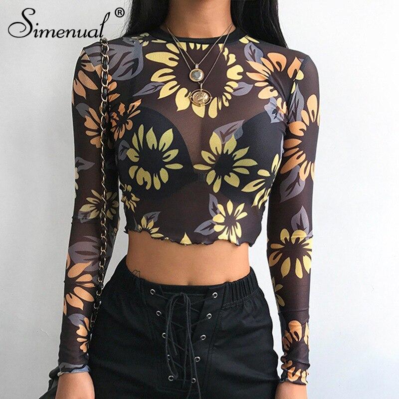 mesh hollow out t shirt women long sleeve crop top (5)