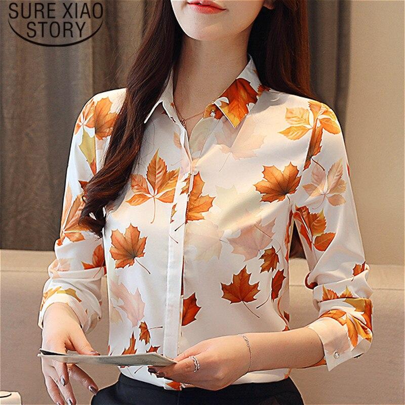 6ad06de30e1f54e Blusas mujer de moda 2019 женская блузка на пуговицах Цветочная шифоновая  блузка с воротником женские рубашки с длинными рукавами 2051 50