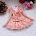 2016 Nueva Llegada Manera de Las Muchachas Lindas Vestido Rosa/Beige Vestidos de Tul Princesa Del Tutú de Los Niños Para Las Niñas
