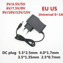 AC 110-240 В DC 3 В 4,5 В 5 В 6 В 7,5 В 8 В 9 В 10 В 12 В 15 В для 1A светодио дный полосы света Universa адаптер питания Трансформатор зарядное устройство