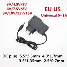 Универсальный адаптер питания для светодиодной ленты, 110 240 в переменного тока, 3 в, 4,5 в, 5 в, 6 в, 7,5 в, 8 в, 9 в, 10 в, 12 в, 15 в, 1 а