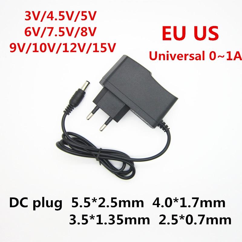 Универсальный адаптер питания для светодиодной ленты, 110-240 в переменного тока, 3 в, 4,5 в, 5 в, 6 в, 7,5 в, 8 в, 9 в, 10 в, 12 в, 15 в, 1 а