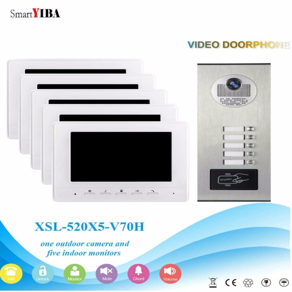 SmartYIBA 5 Unit Apartment Video Intercom System Video Door Phone Doorbell Kit 7 Inch Monitor With RFID Access Door Camera