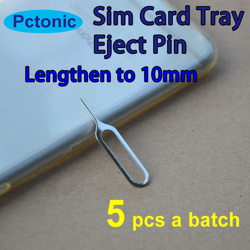 PCTONIC 5pcs Sim Card Tray Eject needle Tool Pin sim card pin Lengthen longer to 10mm for smart mobile phone for iphone samsung ...